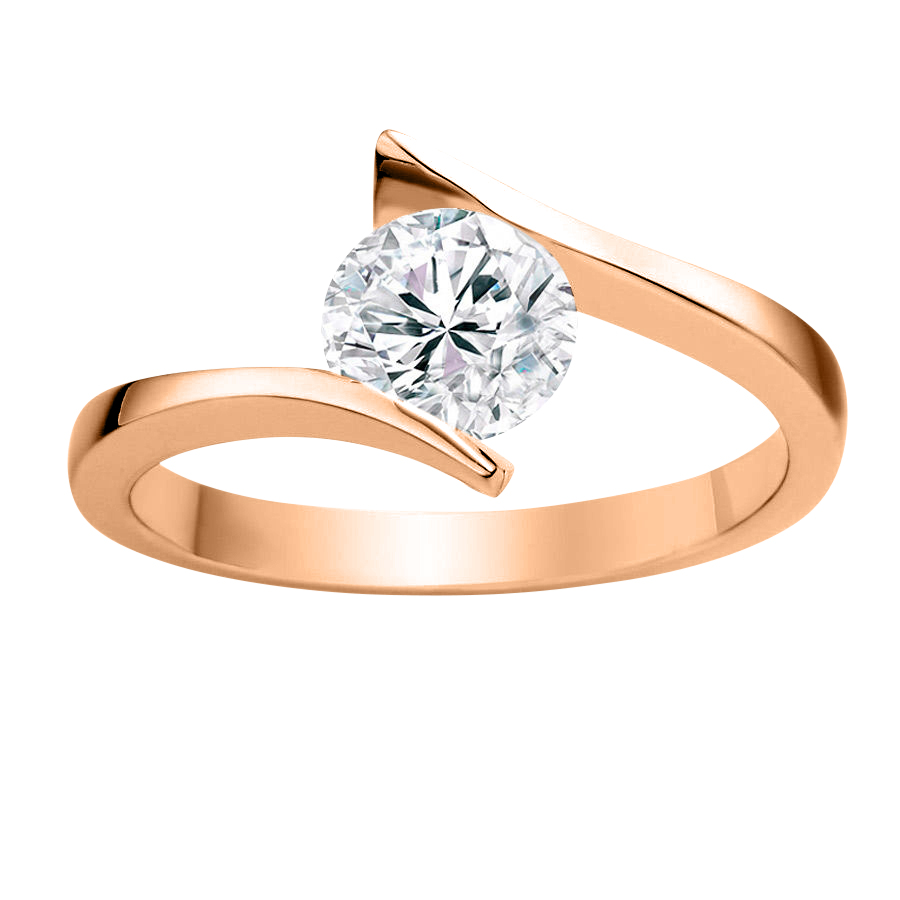 DIAMOND ENGAGEMENT RING - 0.50 CT ROUND - 14K ROSE GOLD
