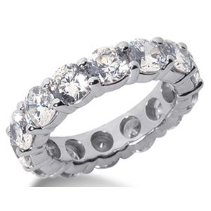 6.50 Ct. Mémoire Blanc Diamants Bague de Or 14K