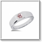 0.25 CT ROUND PINK DIAMOND 14K WHITE GOLD MEN'S RING