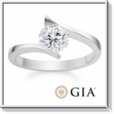0.50 Ct. Diamante Anillo 14k oro blanco D/SI1 +certificado GIA
