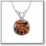 0.25 Carat cognac Diamond 14K white gold Pendant