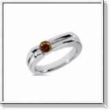 0.25 CT ROUND COGNAC DIAMOND 14K WHITE GOLD MEN'S RING