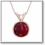 1.00 carats Ruby Solitaire Pendant - 14K Rose Gold
