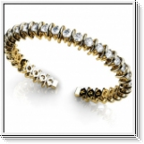 Bracelet Esclave en Or jaune 14 Kt 3.00 ct de Diamants