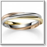 Bangle Bracelet 14K white gold, yellow gold and rose gold