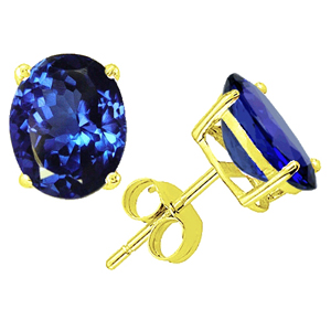 5.00 Ct. blue Tanzanit Earstuds - 14K yellow gold