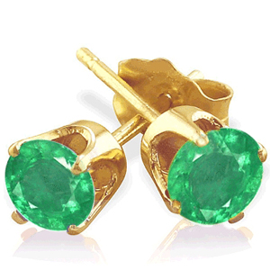 1.00 Ct. Emerald Earstuds - 14K yellow gold