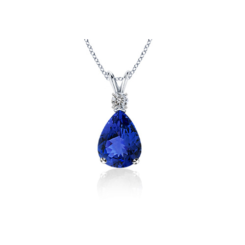 Tanzanite Diamond Pendant 2.10 carat - 18K white gold