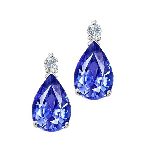 Tanzanite diamond stud earrings 2.10 carat - 18K white gold